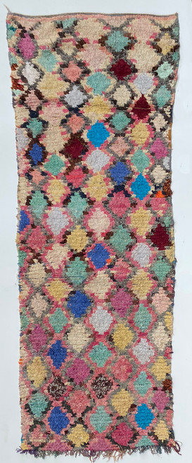 "Handwoven And Hand Knotted Vintage Pile Tribal Boucherouite Rug  20 Morocco (34""x 95"")"
