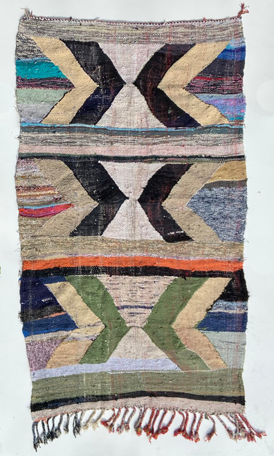 "Handwoven Flat Weave Mixed Fiber Rug  Morocco (48""x 90"")"