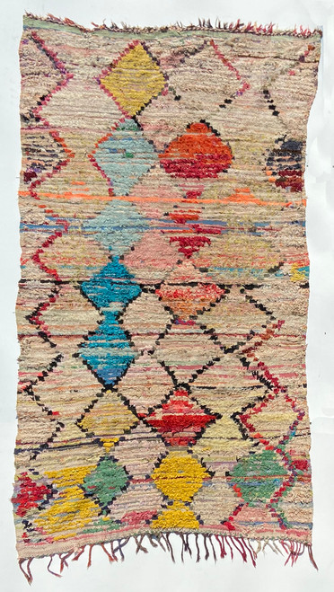 "Handwoven And Hand Knotted Vintage Pile Tribal Boucherouite Rug  24 Morocco (52""x 91"")"