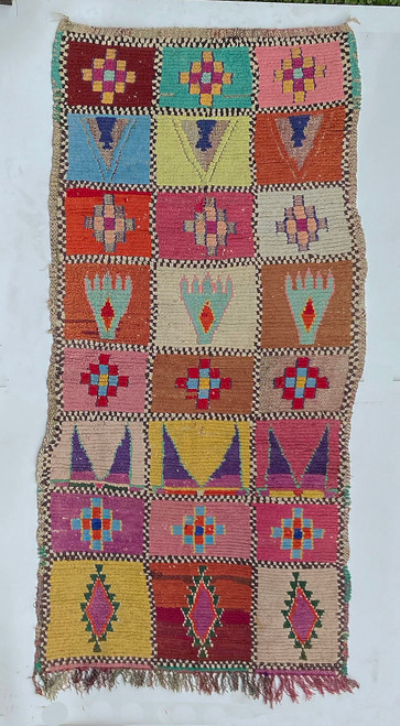 """Handwoven And Hand Knotted Vintage Pile Tribal Boucherouite Rug  26 Morocco (39""""x 79"""")"""