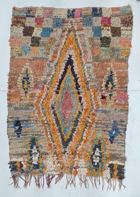 """Handwoven And Hand Knotted Vintage Pile Tribal Boucherouite Rug  27 Morocco (48""""x 64"""")"""