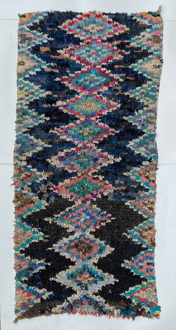 "Handwoven And Hand Knotted Vintage Pile Tribal Boucherouite Rug  28 Morocco (42""x 84"")"