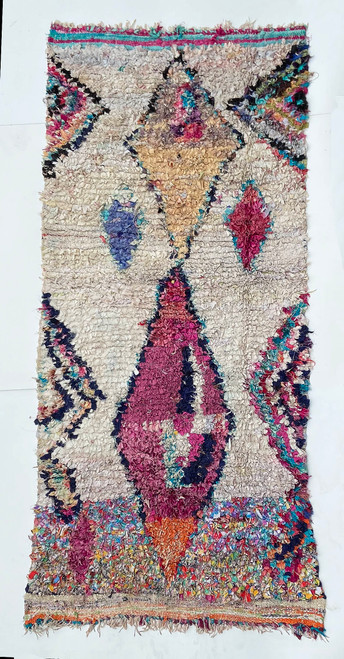 """Handwoven And Hand Knotted Vintage Pile Tribal Boucherouite Rug  29 Morocco (44""""x 94"""")"""
