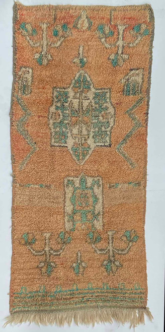 "Handwoven And Hand Knotted Vintage Wool Pile Rug  Morocco (35""x 78"")"