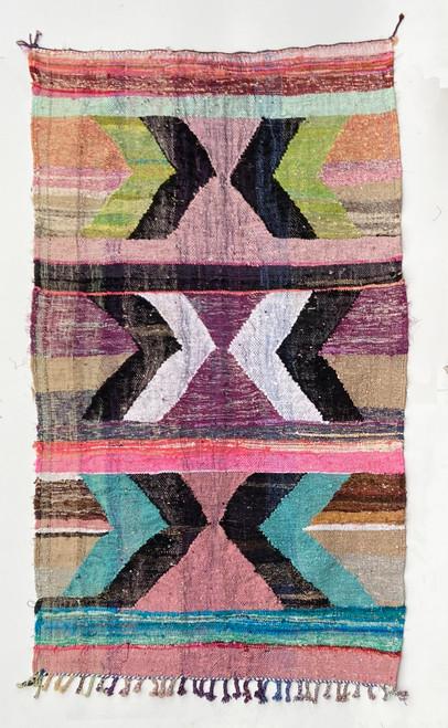 "Handwoven Flat Weave Mixed Fiber Rug  5 Morocco (50""x 87"")"