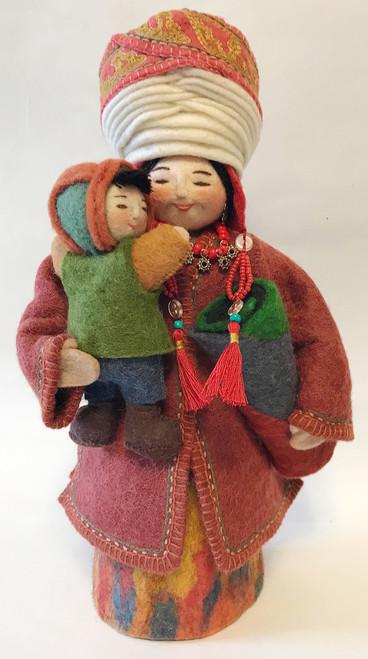 "Handmade Stitched Felt Wool Doll Kyrgyzstan (5.5"" x 10.5"")"