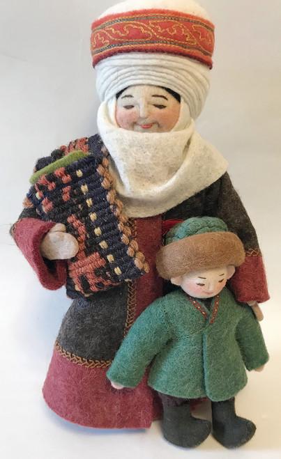 "Handmade Stitched Felt Wool Doll A Kyrgyzstan (5.5"" x 10.5"")"