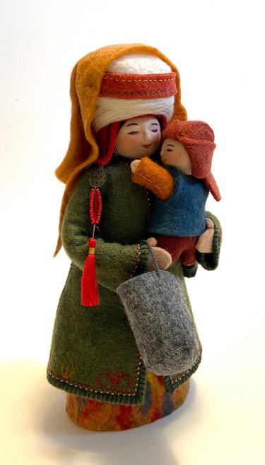 """Handmade Stitched Felt Wool Doll B Kyrgyzstan (5.5"""" x 10.5"""")"""