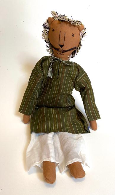 "Handmade Stitched Cloth and Yarn Lion India ( 18"" x 6"")"