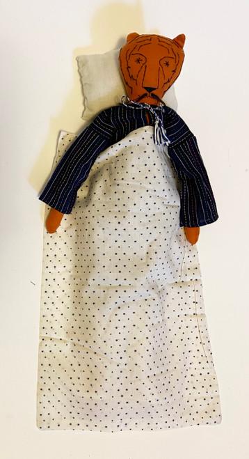 "Handmade Stitched Cloth and Yarn Tiger India ( 18"" x 6"")"