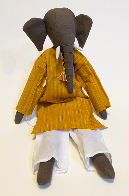 "Handmade Stitched Cloth and Yarn Elephant India (6"" x 18"")"