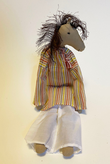 "Handmade Stitched Cloth and Yarn Horse India ( 18"" x 6"") In Stock"