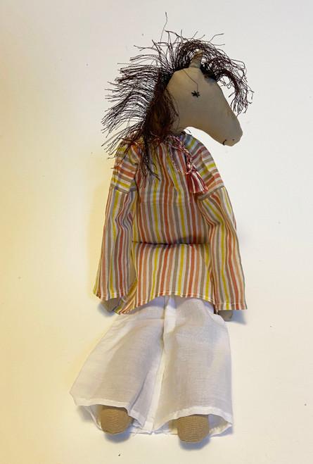 "Handmade Stitched Cloth and Yarn Horse India ( 18"" x 6"")"