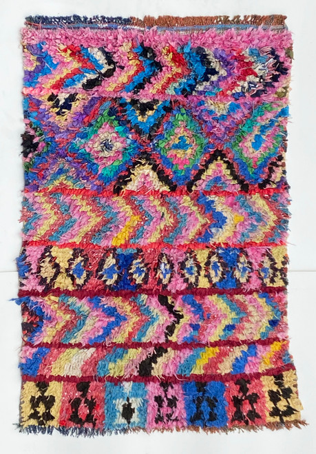 "Handwoven And Hand Knotted Mixed Fiber Vintage Rug 41  Morocco (39""x 58"")"