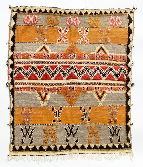 """Handwoven Glaoui  Wool Flat Weave with Pile and Embroidery  Vintage Tribal Berber Rug Morocco (45"""" x 62"""")"""