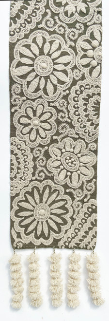 "Handwoven Hand Embroidered Wool Table Runner C Peru (12"" x 62"")"