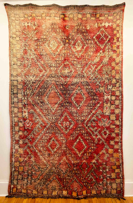 "Handwoven And Hand Knotted Beni Mguild Wool Vintage Rug  Morocco (71""x 114"")"