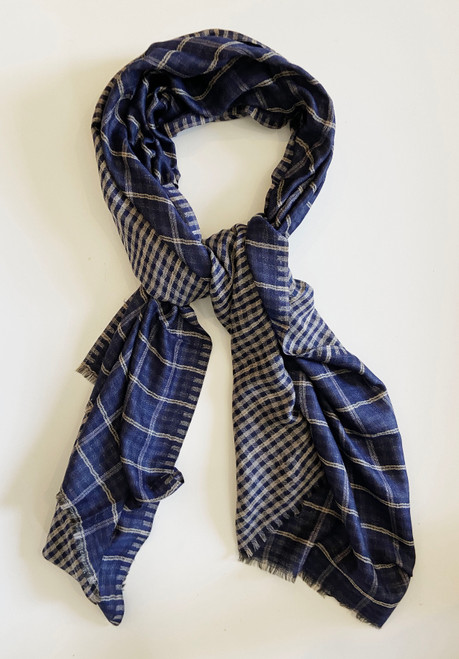 "Reversible  fine wool  Scarf or Shawl Blue India (27"" x 80"")"