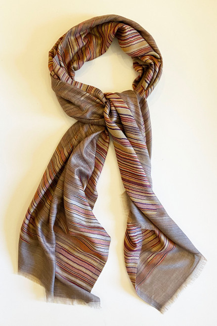 "Reversible  fine wool  Scarf or Shawl B India (27"" x 80"")"