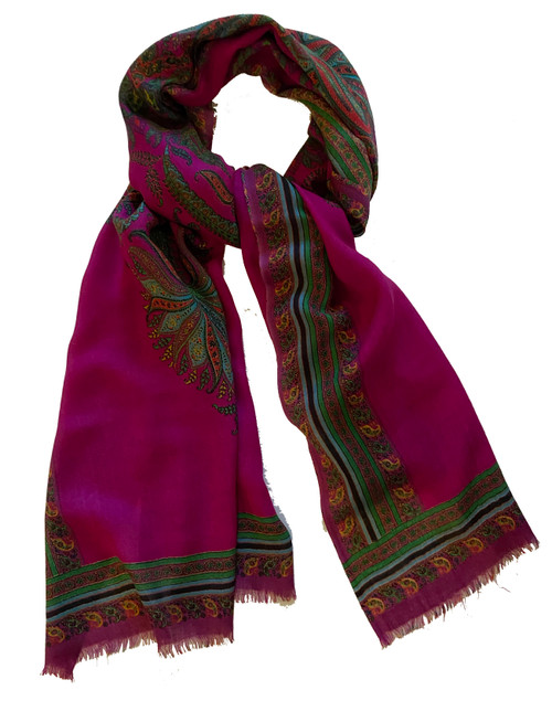 "Lightweight wool  printed Scarf India (28"" x 80"")"