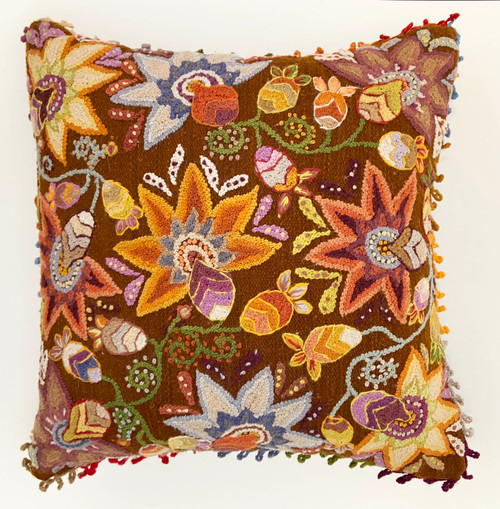 """Woolen Hand Woven and Embroidered Pillow C Peru  (18"""" x 18"""")"""