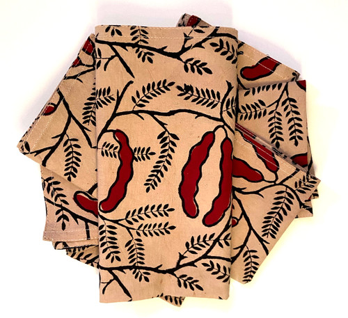 "Hand Block Printed Natural Dyed Napkins 6 India Set of 4  (18""x 18"")"