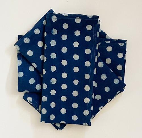 "Hand Block Printed Natural Dyed Napkins Dot India Set of 4  (18""x 18"")"