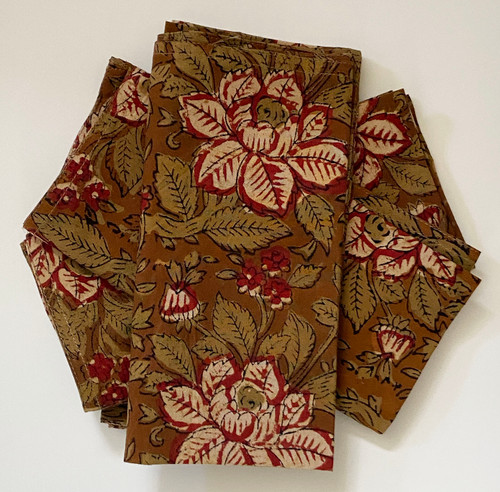 """Hand Block Printed Natural Dyed Floral Napkins India Set of 4  (18""""x 18"""")"""