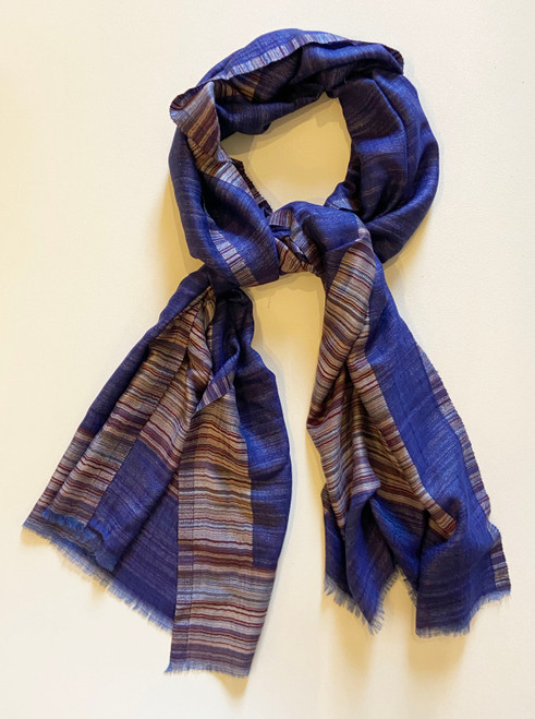 "Reversible  fine wool  Scarf or Shawl Blue Violet India (27"" x 80"")"