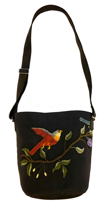 Handwoven Embroidered Charcoal Black Bird and Leather Bucket Bag Guatemala