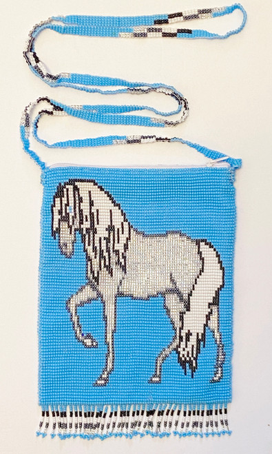 "Handmade Beaded Horse Shoulder C Bag (7"" x 5.25"")"