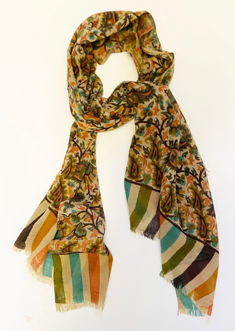 "Lightweight wool  Printed Scarf India (27"" x 70"")"