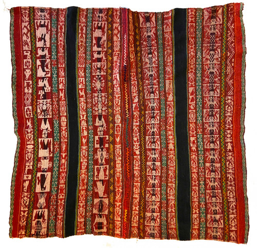 "Handwoven Woolen Blanket Manta of Peru (38"" x 38"")"