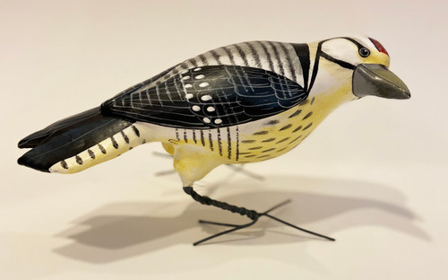 "Ladder Back Woodpecker Painted Ceramic Bird Guatemala (9"" x 5"")"