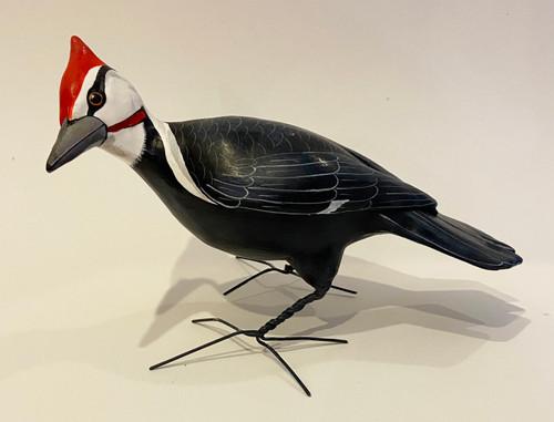 "Pileated  Woodpecker Painted Ceramic Bird Guatemala (10"" x 6"")"