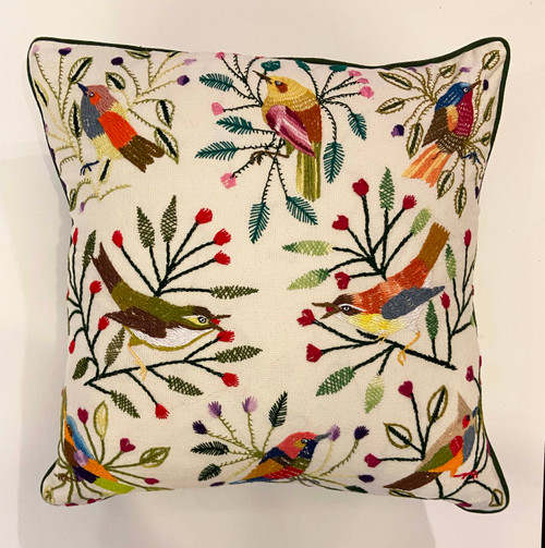 "Handwoven and Hand Embroidered Bird Pillow A Guatemala (18"" x 18"")"