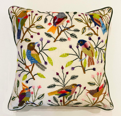 "Handwoven and Hand Embroidered Bird Pillow B Guatemala (18"" x 18"")"
