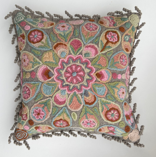 Woolen Hand Woven and Embroidered Pillow Peru Pink Grey Rose Blue