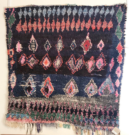 "Handwoven And Hand Knotted Vintage Pile Tribal Boucherouite Rug A Morocco (56""x 66"")"