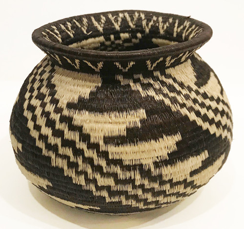 Handmade Natural Fiber Wounaan Basket 9 Panama Black Wheat