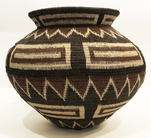 "Handmade Natural Fiber Wounaan Basket 18 Panama  (5.5"" tall x  6.5""wide)"