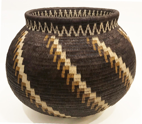 "Handmade Natural Fiber Wounaan Basket 1( Panama  (6.25"" tall x  8""wide)"