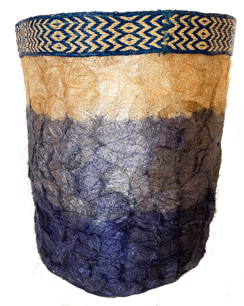 "Handmade Natural Dyed Silk Basket D Madagascar (12"" x 13"")"