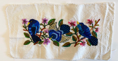 Hand Embroidery on Cotton  White Blue