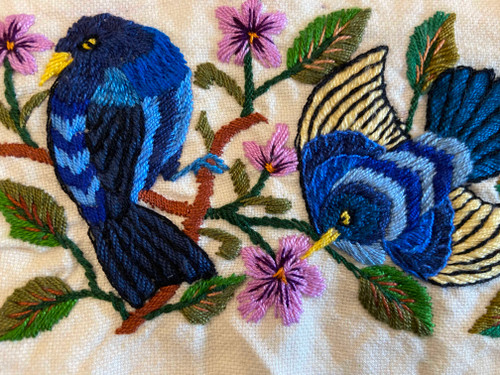 """Hand Embroidery on Cotton by the Foot C Guatemala (4"""" x 11"""")"""