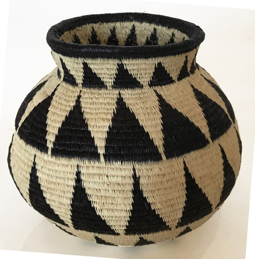 "Handmade Natural Fiber Wounaan Basket 8 Panama  (4"" tall x  5""wide)"