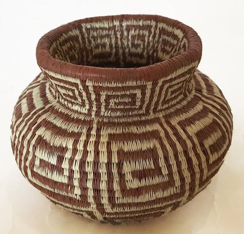 "Handmade Natural Fiber Wounaan Basket 4 Panama  (2.5"" tall x  3.75""wide)"