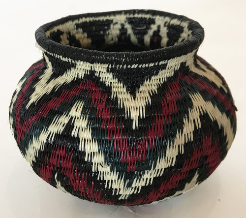 Handmade Natural Fiber Wounaan Basket 11 Panama  burgundy red black pale wheat
