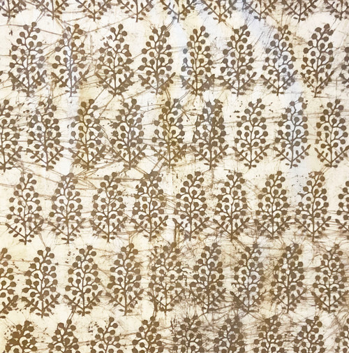 Handmade Batik Natural  Dyed Cotton Fabric Fauna Taupe White India