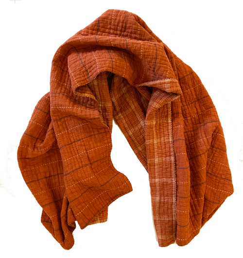"Handwoven Natural Dyed Brick Organic Cotton C Throw (41"" x 68"")"